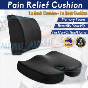 Coccyx Orthopedic Memory Foam Seat Cushion Lumbar Back Pillow Pain Relief Car