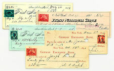 5 diff. documentary stamp bank checks 4 USA and 1 Canada nice used 1870's-1900's