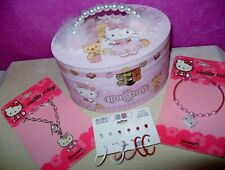 Hello Kitty Jewelry Music Box Pink Sanrio w/ 2 Bracelets & pierced Earring set
