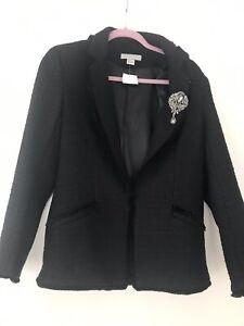 H&M Tweed Blazer Jacke Gr. 38  Broschen Sehr Selten Neu