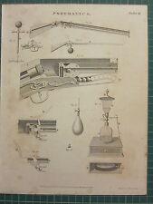 1802 datato antico stampa ~ Pneumatico Pistola rigle attrezzature diverse
