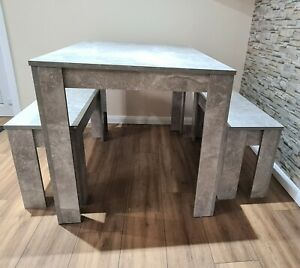 Modern Wood Stone Grey Dining Table and 2 Benches