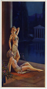 Vintage Rare 1929 Print L. Goddard Fantasy Goddesses Garden Of Golden Dreams