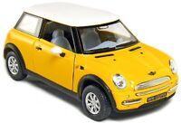 "Brand New 5"" Kinsmart Mini Cooper Diecast Model Toy Car 1:28 Pull Action Yellow"