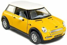 "Brand New 5"" Kinsmart Mini Cooper Diecast Model Toy Car 1:28 Pull Action Yellow"