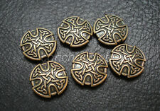 Set of 6 ANTIQUE BRASS CRAFT CELTIC CROSS CONCHOS 1 inch screw back craft tack