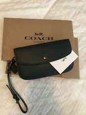 COACH Glove Tanned Leather Clutch Wristlet Wallet Phone Pouch Dark Olive  F29770