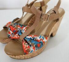 Euro Soft Womens Shoes Size 8 Beige Printed Platform Heels