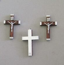 Lot 3 BROWN Wood Rosary Crucifix ITALY Make Rosaries Cross ITALY C118 ~ SMALL