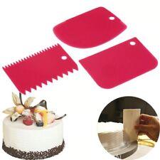 3 Pcs Plastic Cake Scraper Spatula Set Pastry Dough Fondant Cream Cake Edge Side