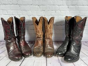 Lot of 3– MEN'S LUCCHESE OSTRICH SKIN WESTERN COWBOY RANCHER BOOTS Leather 10D