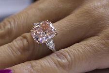7.00 Ct Light pink Cushion Cut Three Stone Diamond Engagement Ring 10k Rose Gold