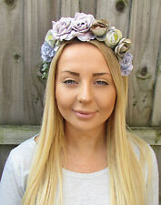 Grey Lilac Purple Rose Flower Garland Headband Hair Crown Floral Bridesmaid 1914
