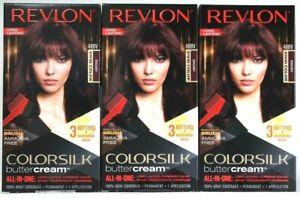 3 Revlon 48BV Burgundy Vivid Color Ammonia Free Colorsilk Buttercream Hair Color