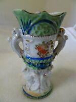 "Vintage 4 3/4"" Ceramic Vase/Urn-Gold Trim-Floral-Handles-JAPAN-Used as Bud Vase"