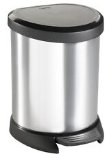 Curver 5L Stainless Steel Effect Plastic Kitchen Bathroom Pedal Bin - FREE P&P