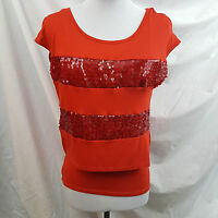 Heart Soul Womens Shirt Size 2 Cap Sleeve Red Sequin Striped