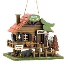 Woodland Cabin Birdhouse Outdoor Wildlife Garden Animal Wood Rustic Hanging Bird