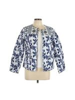 Sahalie Women Quilted Jacket Size Large Bold Floral Print IKAT Reversible Blue