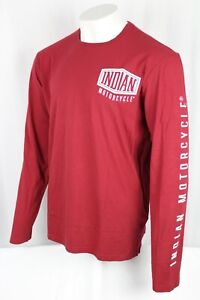 Indian Motorcycles Men's Long-Sleeve T-Shirt with Shield Logo XL Red