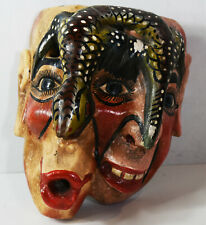 """9"""" Hand Carved Wooden Painted South American Mask Horror Double Face Lizard Art"""