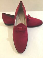 NWT Cole Haan Womens Size 7 AA Red Bow Satin Slipper Loafer Flat Made In Italy