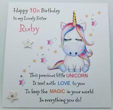 Handmade Personalised Birthday Card Unicorn Granddaughter Sister Daughter