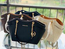 Michael Kors Medium Large Travel Chain Tote  Leather Bag  Black Brown Vanilla