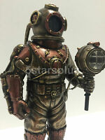 Steampunk skeleton in diving bell with light figure sculpture statue decor