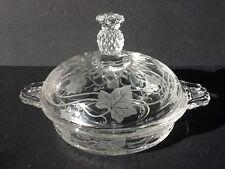 Elegant Glass Heisey Plantation Ivy Butter Dish