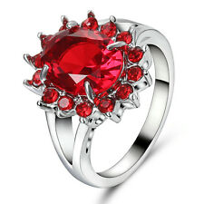 Size 7 Engagement Ruby Ring CZ Wedding Jewelry Women's Silver Rhodium Plated