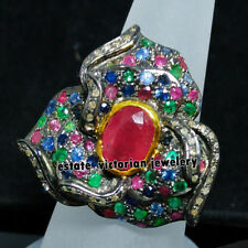 Enchanting 2.01Ct Rose Cut Diamond Gemstone Studded Sterling Silver Jewelry Ring