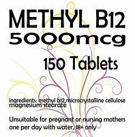 HIGH STRENGTH METHYL B12 TABLETS  5mg  5000mcg Vitamin Methylcobalamin x 150