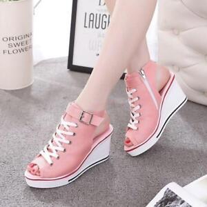 Womens Wedge Heels Canvas High Top Platform Sneakers Sandals Open Toe Shoes