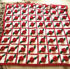 Vintage Hand Made Crochet Afghan Throw 3D Red Rose Green White Blanket Squares