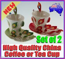 NEW Ceramic Fine China Peacock Coffee Tea Cup Saucer Set of 2 Christmas Gift