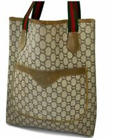 Auth Gucci Plus Tote Bag Sherry line Browns PVC Leather Italy Y1245