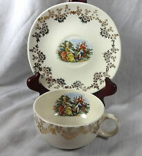 Iva Lure by Crooksville Tea Cup Saucer China Colonial Victorian USA D-S Vintage