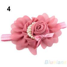 FZ- Chic Baby Chiffon Pearl Headband Rose Flower Hairband Photography Prop Band