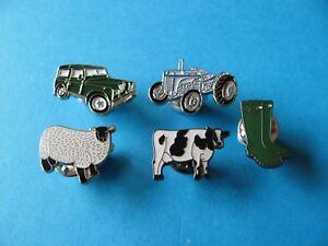 5, Farming Pin Badges, VGC, Tractor Farming Interest.