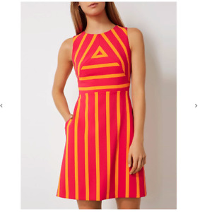 BNWT Karen Millen Graphic Block Stripe Shift Dress Orange Pink 60s size 12 £160