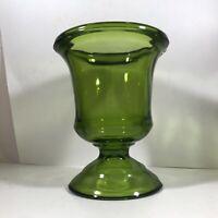 Vintage Green Glass Pressed Pedestal Planter Vase