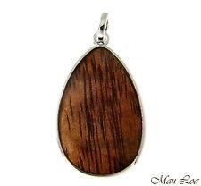 Koa Wood Hawaiian Tribal Teardrop Rhodium Silver Plated Brass Reversible Pendant