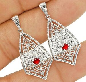 Ruby 925 Solid Sterling Silver Victorian Style Earrings Jewelry 1'' Long VE7