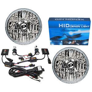 "7"" Crystal Glass/Metal Headlight 6k 6000k White HID Light Bulb Headlamp Kit Pair"