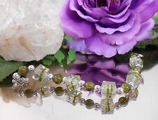 Würfel Armband Oliv Grün + Crash Glas Perlen mit Karabiner Verschluß