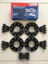 4 x 10mm H&R Black Alloy Wheel Spacers Black Bolts Locks - BMW E60 E61 E62 E63