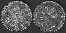 1868 Francia Napoleone III Imperatore 5 Fr. d'argento BB