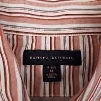 Banana Republic Men's Button Up Shirt Long Sleeve Size Medium Striped Red White