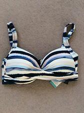 BNWT Ladies Size 16 M&S Blue Mix Striped Padded Non Wired Bikini Top